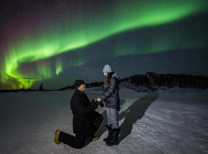 Alyssa and K Seans Proposal Under the Northern Lights