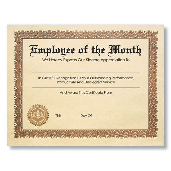recognition certificates for employees