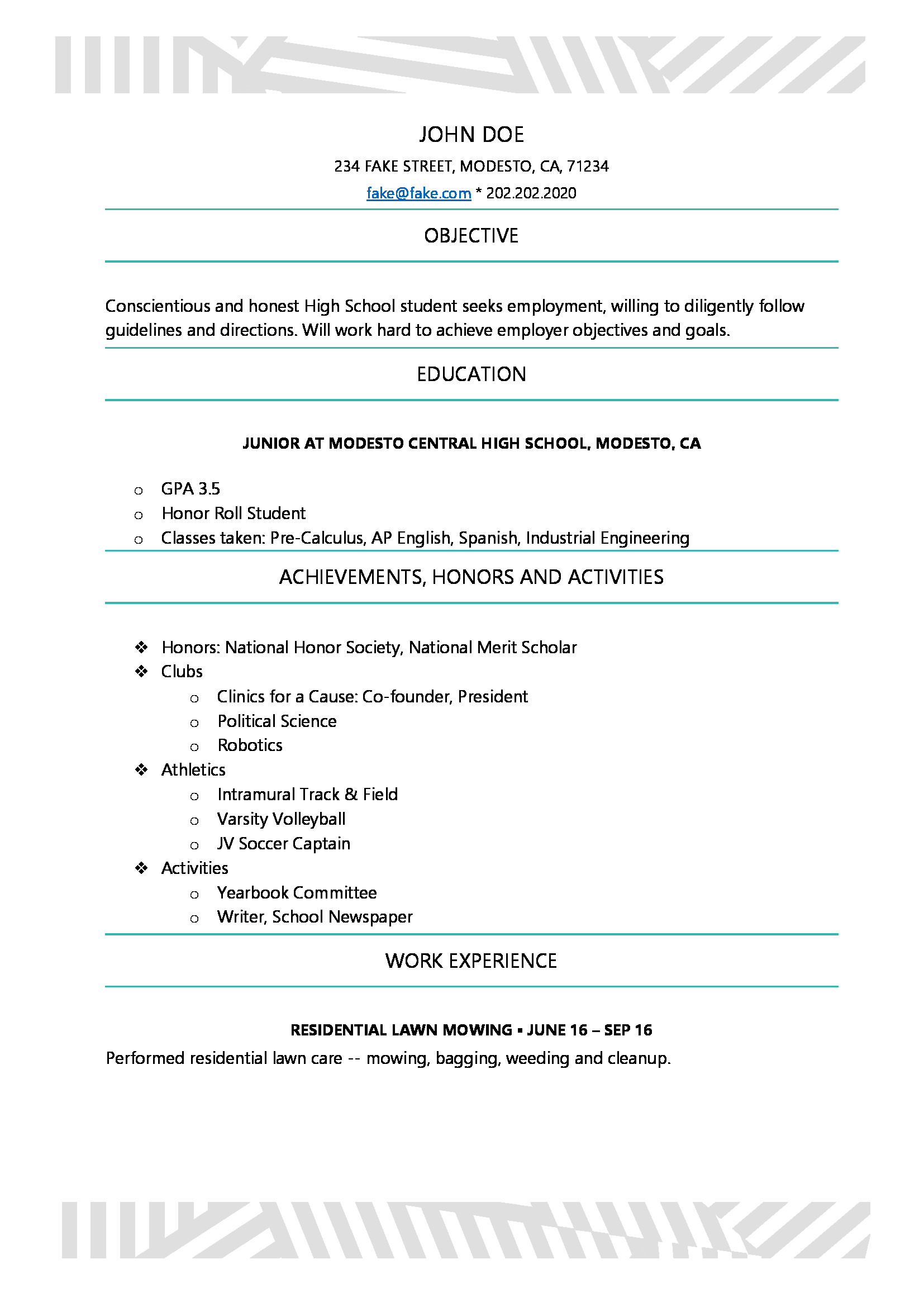 Resume For High Schoolers