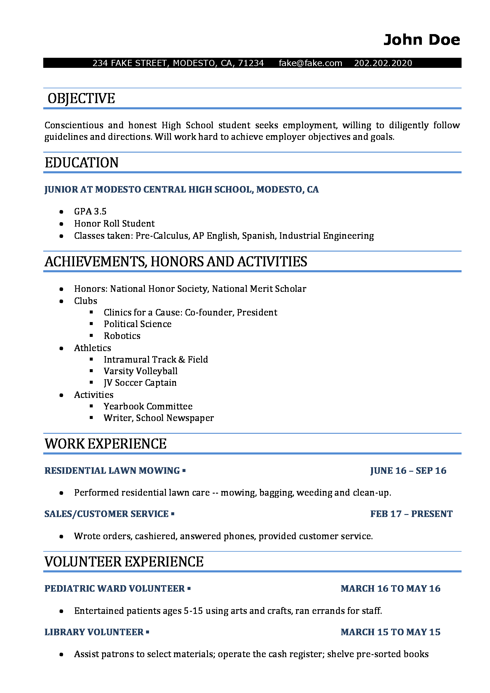 Michigan Works Resume Maker High School Resume Resumes Perfect For High School Students