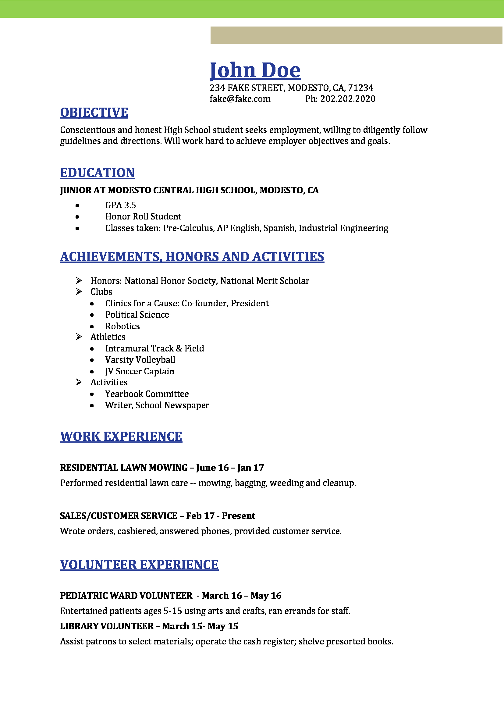 Other Name Of Resume High School Resume Resumes Perfect For High School Students