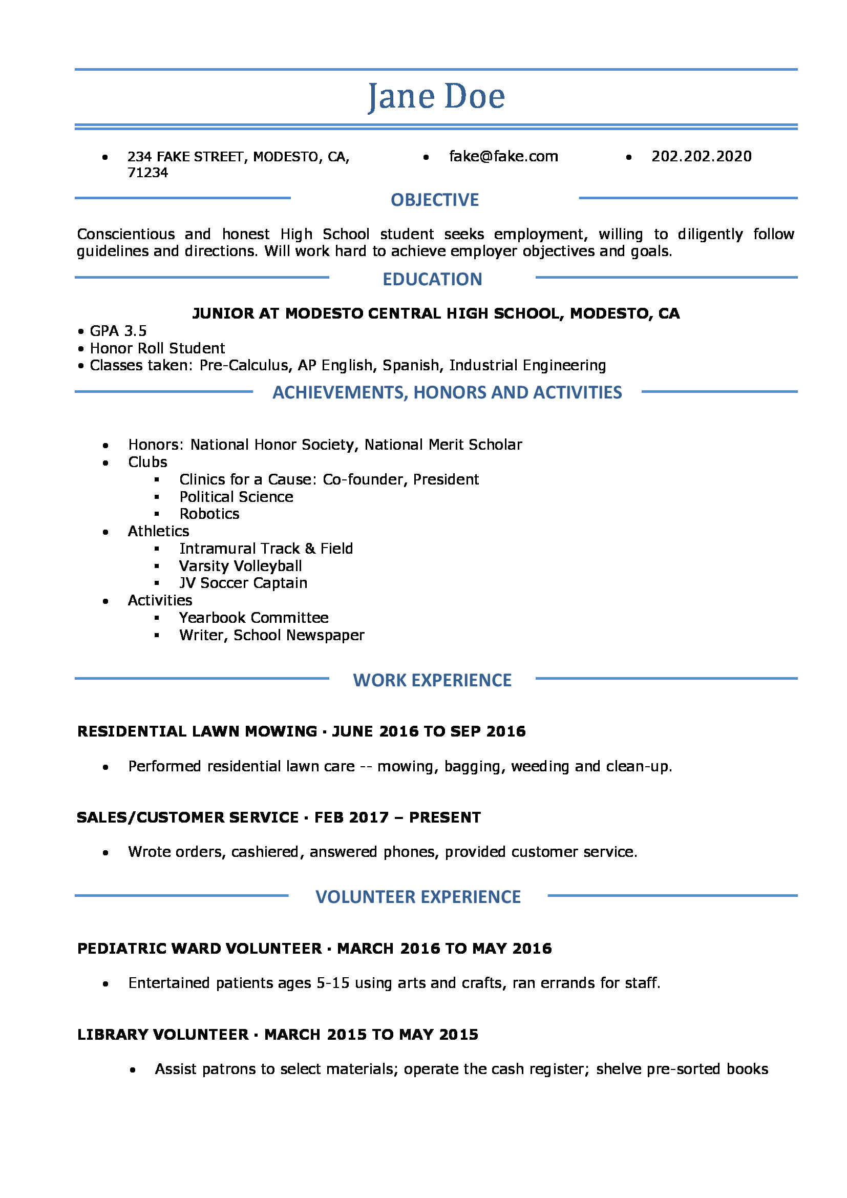 resume information for high school students