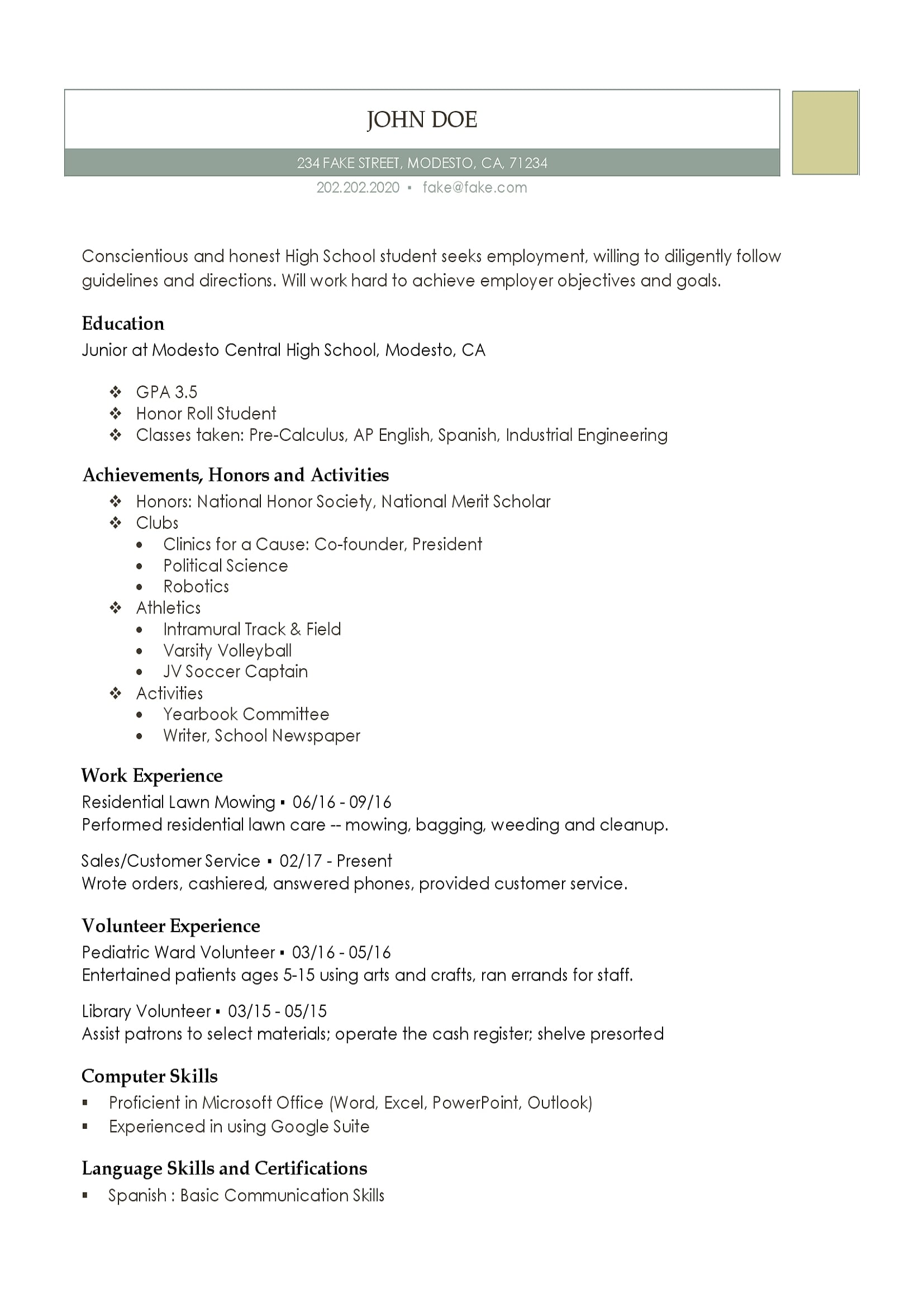 Skills For A High School Student Resume High School Resume Resumes Perfect For High School Students
