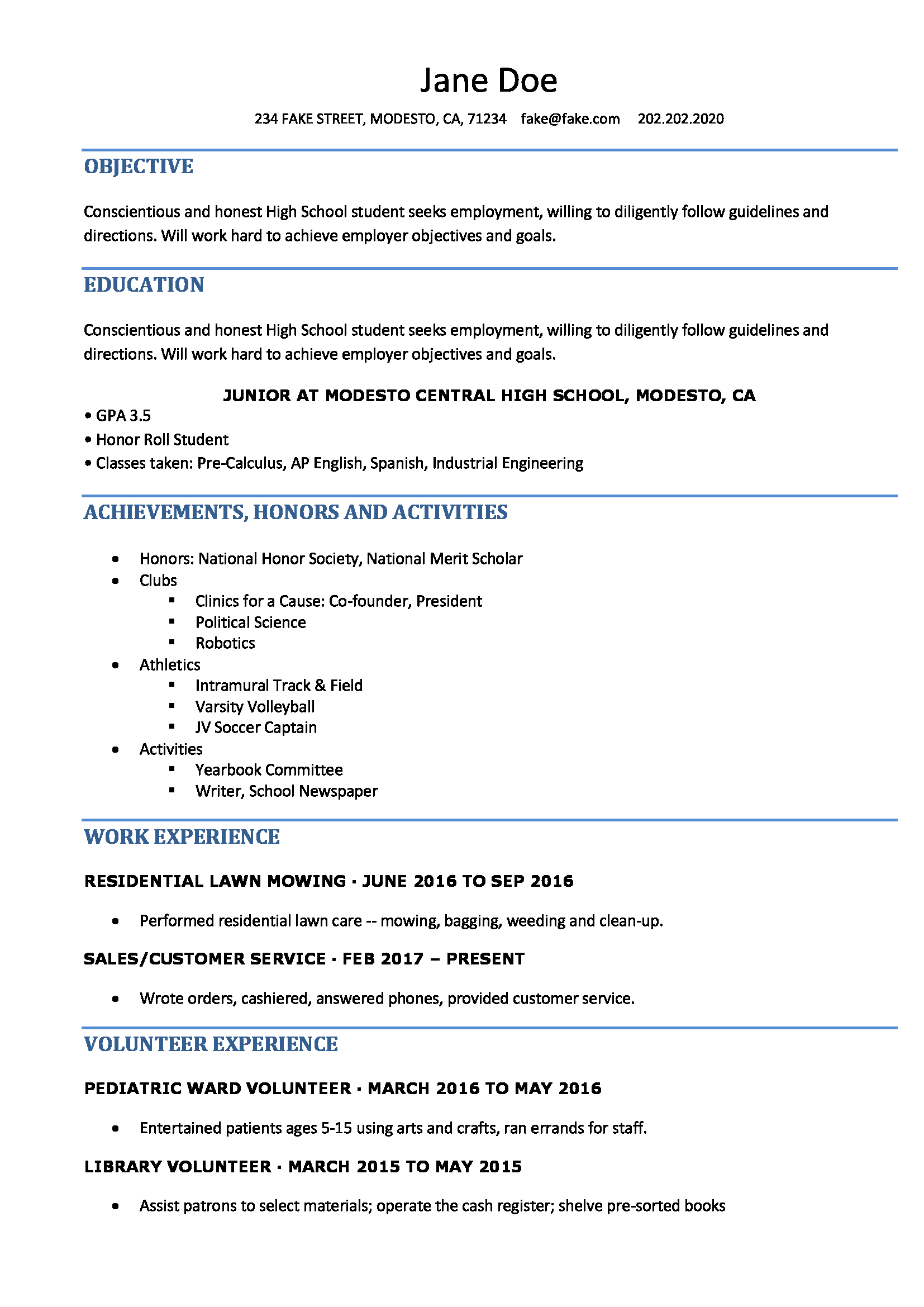 Resume Sample For College Student High School Resume Resumes Perfect For High School Students