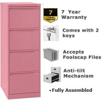 4 Drawer Steel Filing Cabinet Flush Front Pink Bisley BS4E ...