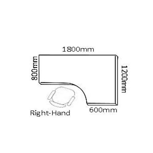 L-Shaped Corner Right Hand Panel End Office Desk White