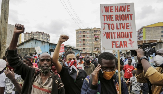 Protesters in the Mathare slum in Nairobi demonstrate on Monday against police brutality. Photo: AP