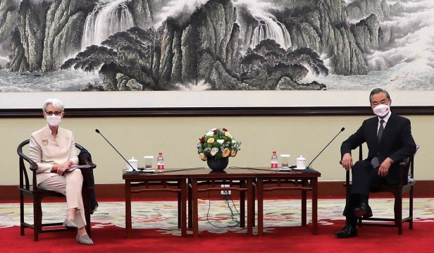 US deputy secretary of state Wendy Sherman and Chinese Foreign Minister Wang Yi in Tianjin, China, on July 26. Photo: US Department of State via AP
