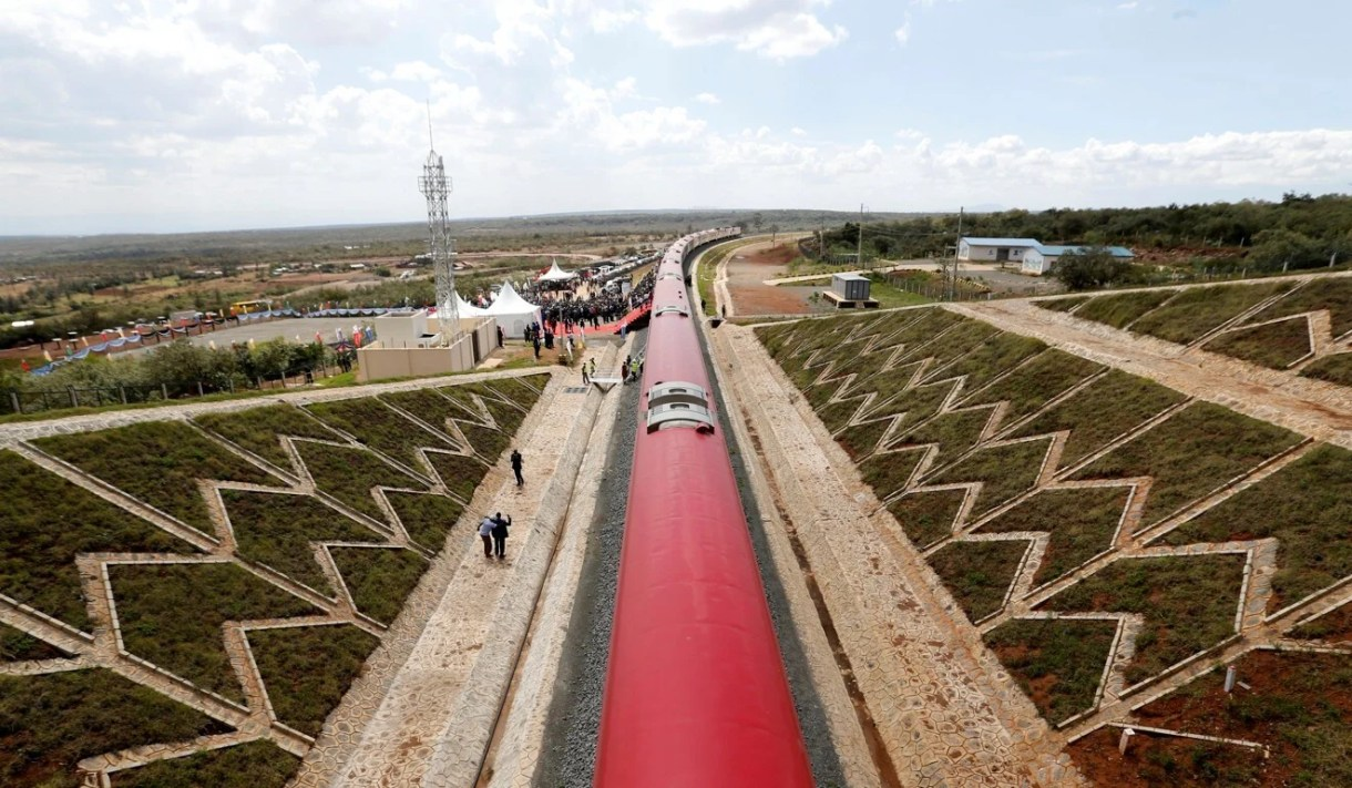 A train on the standard gauge railway line financed by the Chinese government in Kimuka, Kenya on October 16, 2019. Photo: Reuters