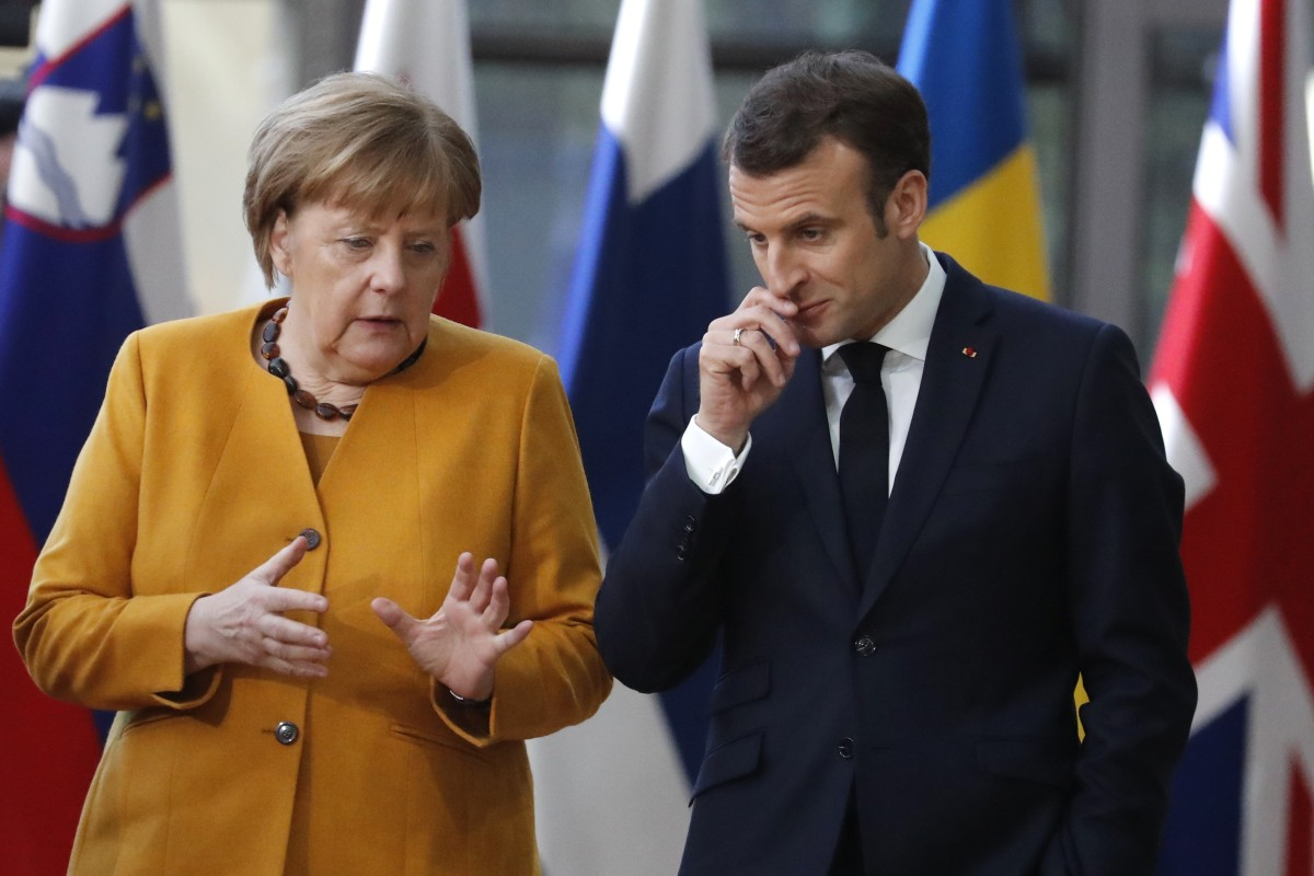 Angela Merkel will join Emmanuel Macron (right) and Jean-Claude Juncker for a meeting with Xi Jinping in Paris on Tuesday. Photo: AP