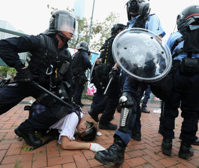 Police In Full Riot Gear Restrain A Protester Outside Legco On Wednesday Photo Felix