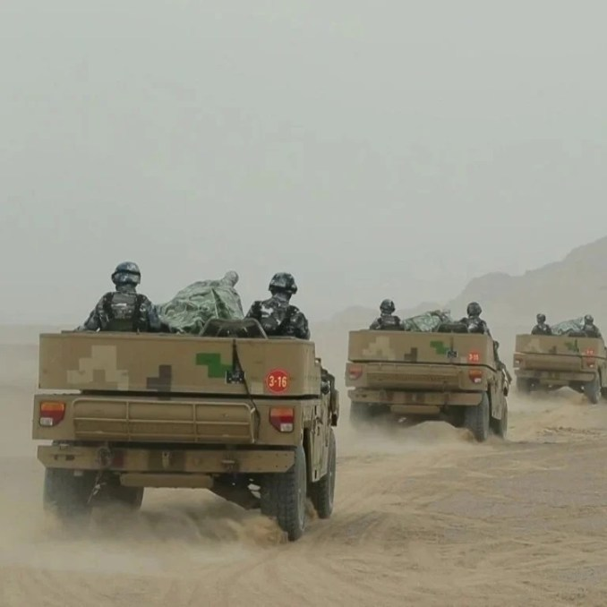 Chinese soldiers head to the northwest plateau in images of the operation shown on state television. Photo: Weibo