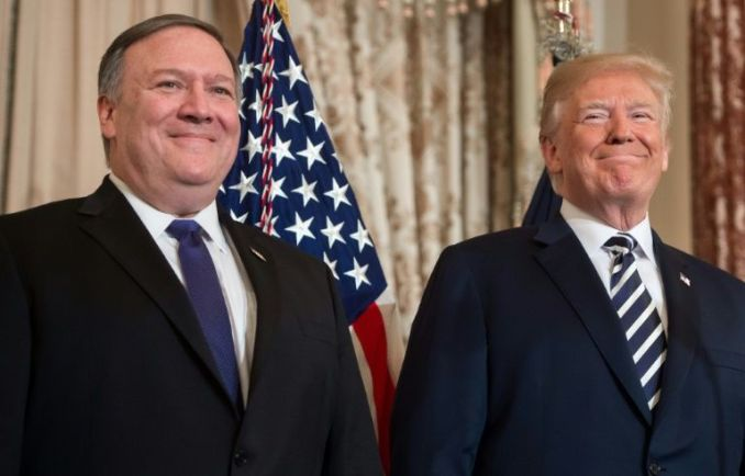 US Secretary of State Mike Pompeo (L) will unveil Donald Trump's new strategy on Iran on Monday in his first major foreign policy speech