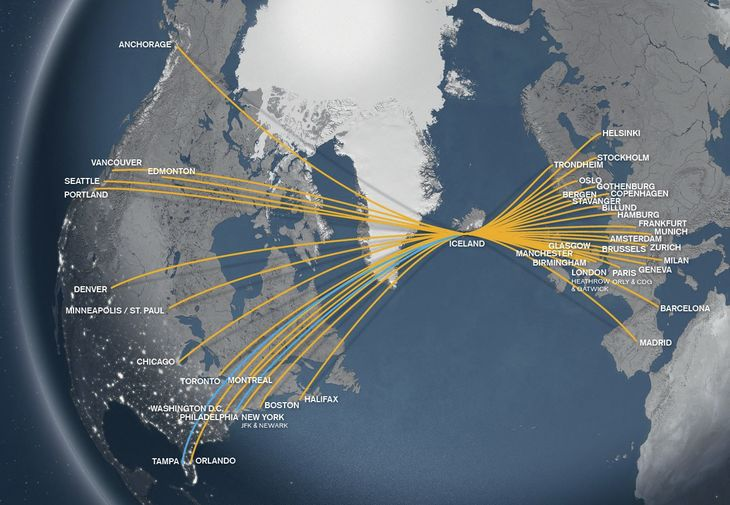 From Icelandair - click on map for website