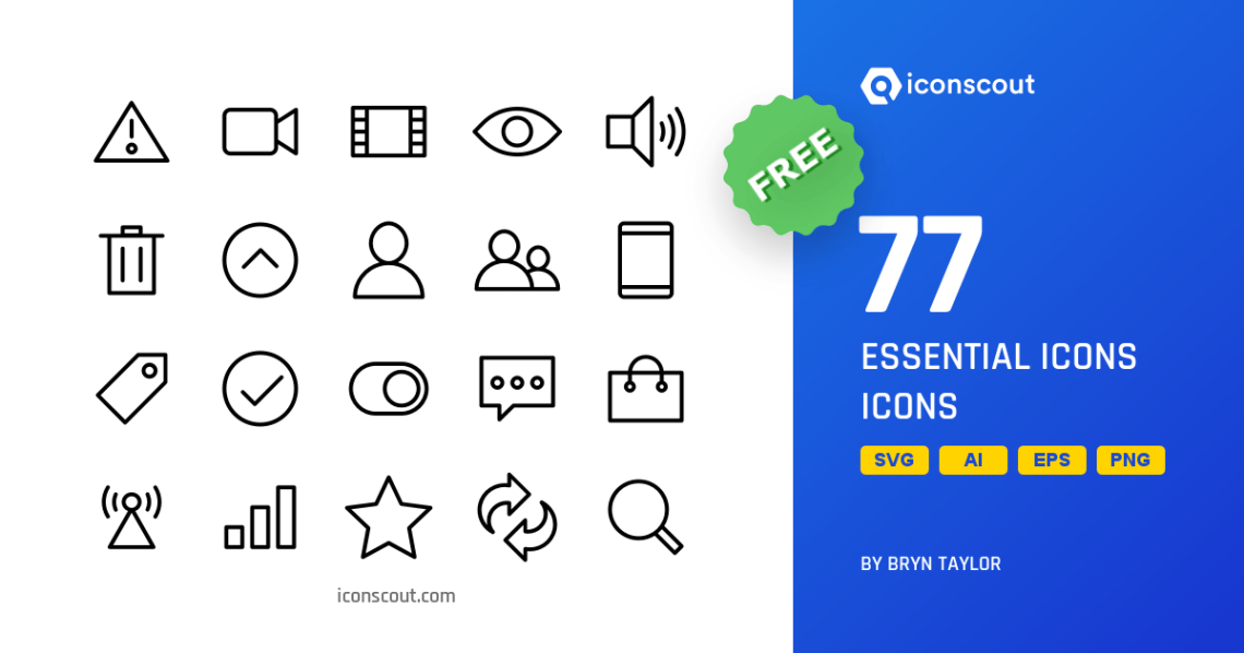Download Download Essential Icons Icon pack - Available in SVG, PNG ...