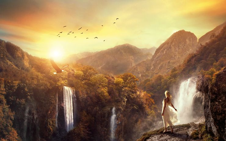 Fantasy Girl Dream Floating House Castle Wallpaper Create This Surreal Scene Of Waterfall Mountains With