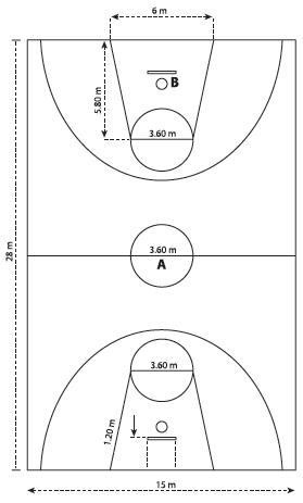 Gambar Ukuran Lapangan Bola Basket Lengkap dengan