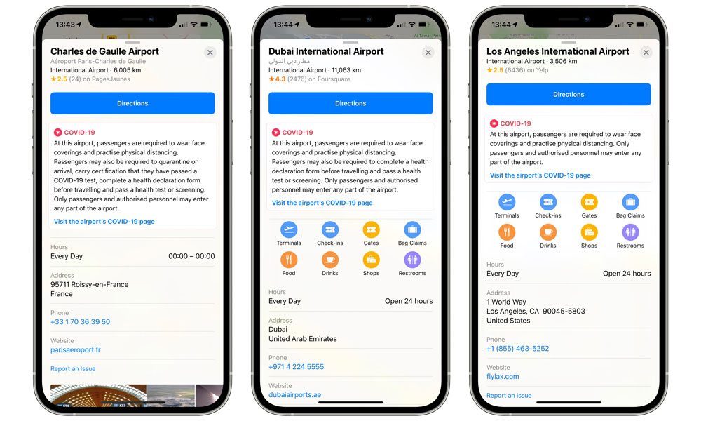 Apple Maps Now Includes COVID-19 Guidelines for Travellers