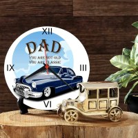 Wooden Round Table Clock with Vintage Car: Gift/Send ...