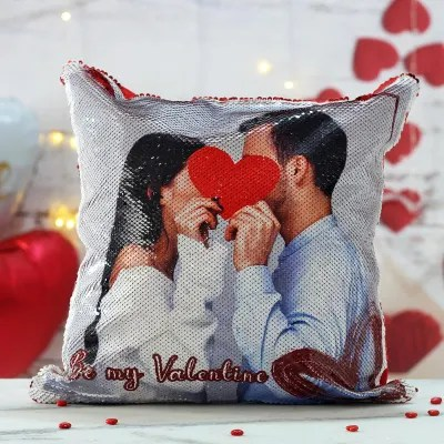 be my valentine personalized photo sequin cushion