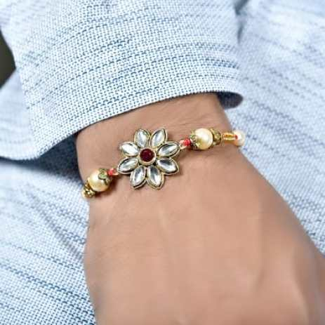 Designer Flowery Dial Kundan Studded Rakhi: Gift/Send Rakhi Gifts Online  L11098399 |IGP.com