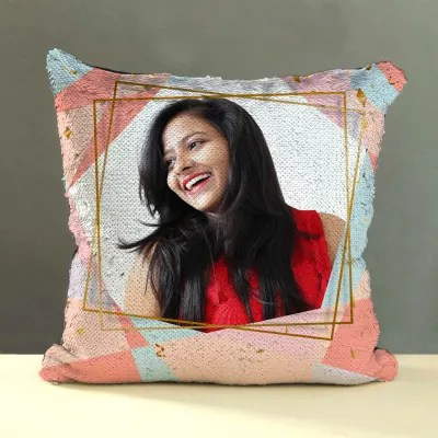 personalized sequin cushion