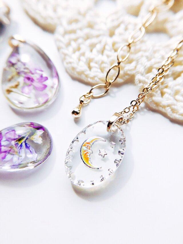 ドイツ製 ビンテージ crystal moon ガラスの月 ネックレス オーバル | momo | ハンドメイド通販 iichi(いいち)