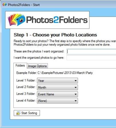 Photos2Folders default window