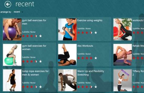 Free Windows 8 Fitness App To Browse Fitness Videos ...