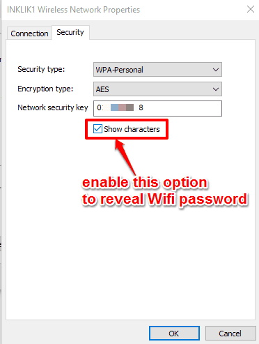 enable show characters option to reveal the password