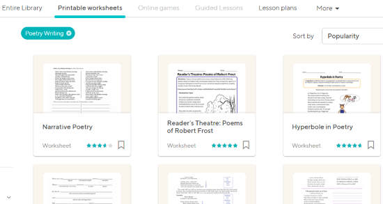 Get Free Printable Poetry Worksheets Using These Free Websites