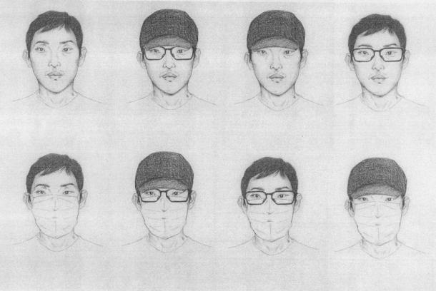 公開された樋田淳也容疑者の8種類の似顔絵(大阪府警提供)