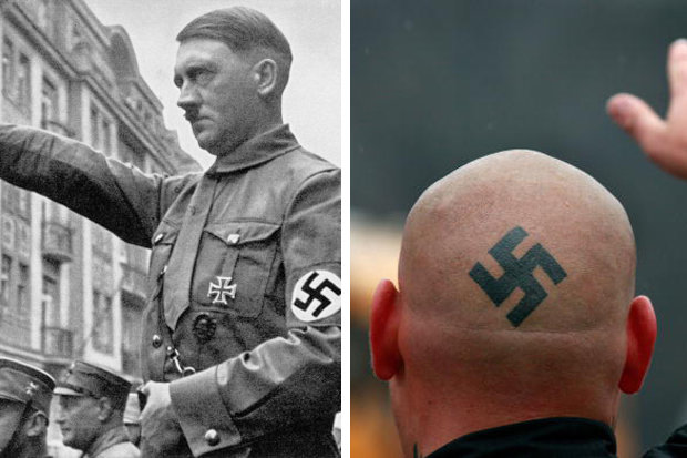 Neo Nazi with Hitler moustache and swastika launches