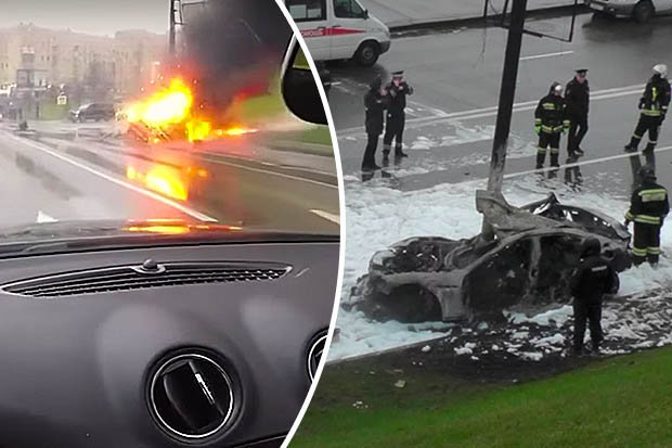 Maserati car burnt out after a crash in Moscow