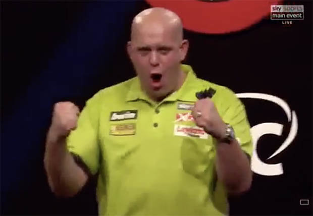 Michael Van Gerwen winning his third Darts title