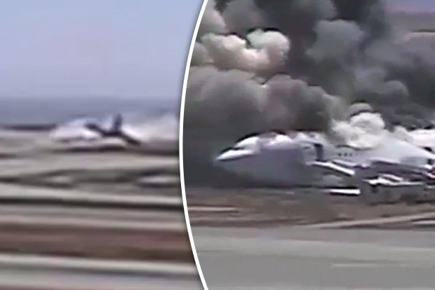Plane crash at San Francisco airpot in CCTV video