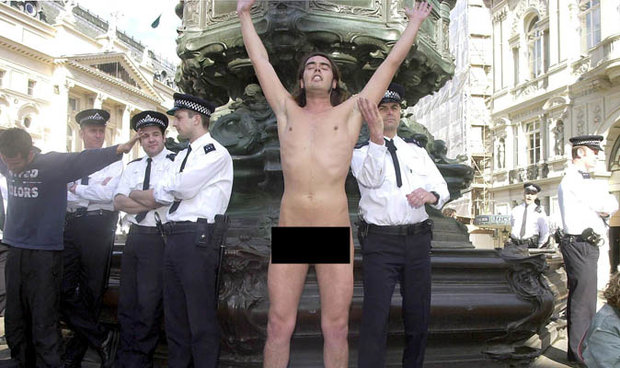 Russell brand nude protest