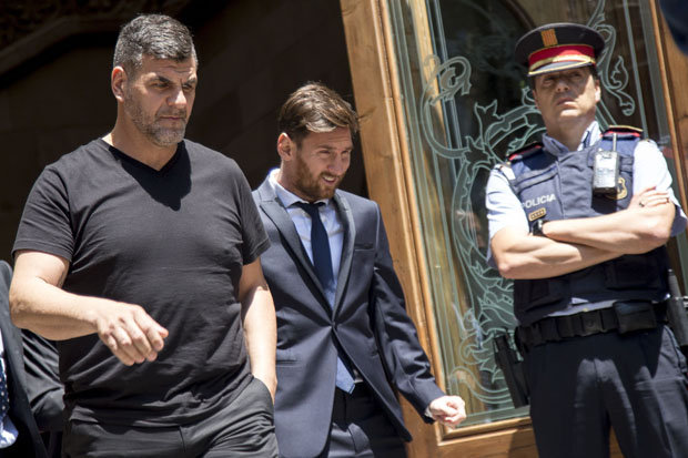 Lionel Messi leaving court in Barcelona last month