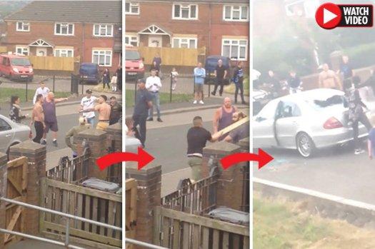 Mob greift Autofahrer auf britischem Gutshof an