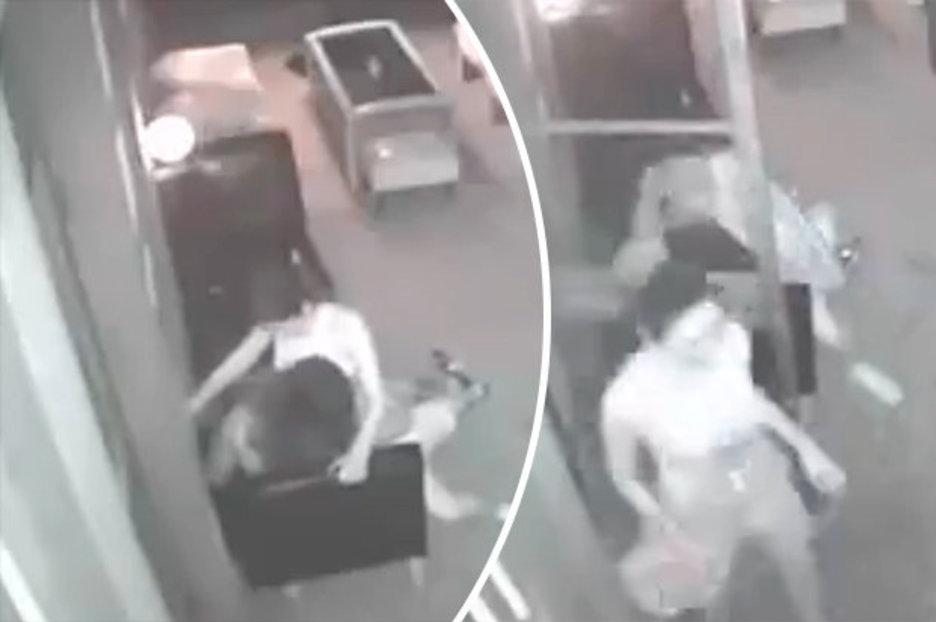 Horny waitress caught having sex with CUSTOMER outside