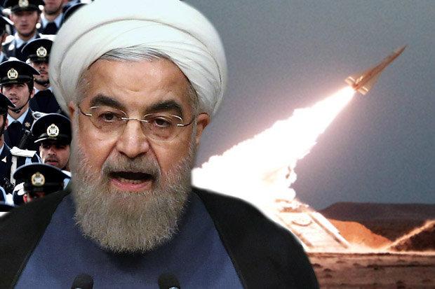 Ayatollah Ali Khamenei and a missile in Iran