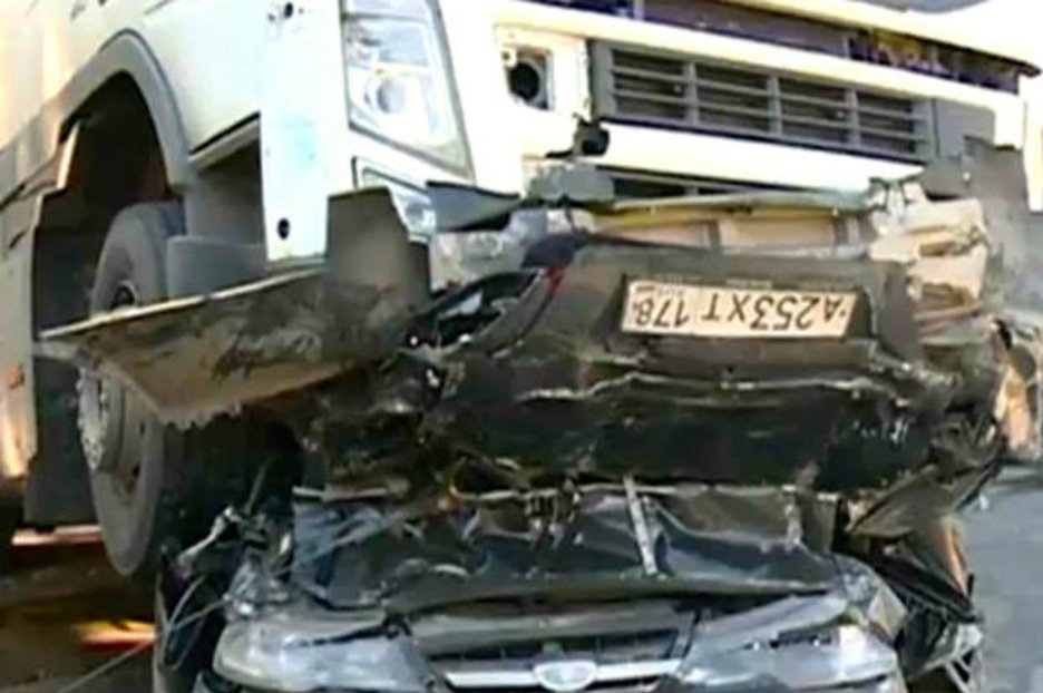 Lorry Collisions On Busy Russian Road Folds Car Like A