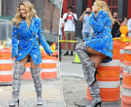 Rita Ora exposes underwear as dress parts at pelvis