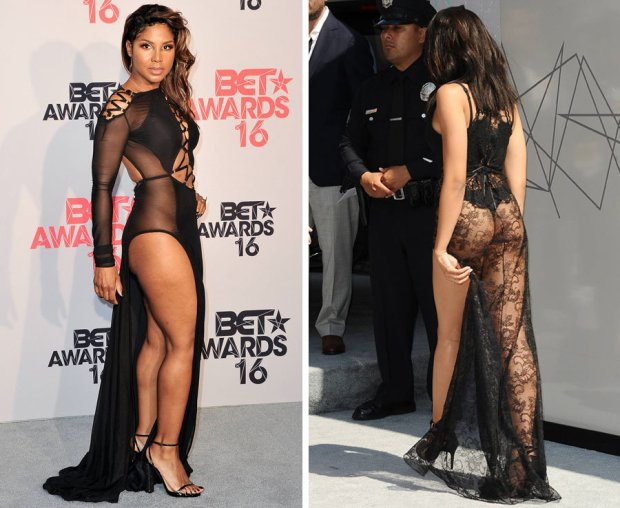Singer Toni Braxton and Tinashe on the red carpet in see-though dresses