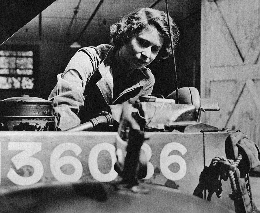 Princess Elizabeth trains as an ATS mechanic, 1945