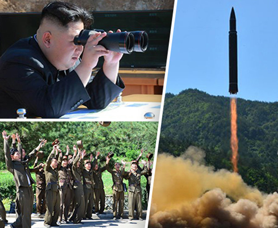 Kim Jong-un watches as the missile launches
