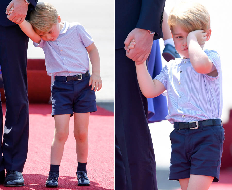 Why so grumpy George? Prince throws ANOTHER tantrum as Royals touchdown in Germany