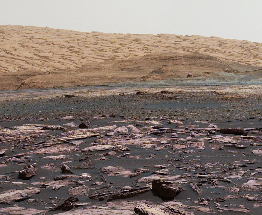 Four geological layers to be examined by the mission, and higher reaches of Mount Sharp beyond the planned study area