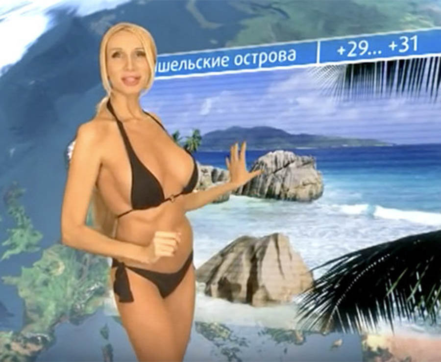Larissa Sladkova the weather girl revealed more than ever on her show striping down to a bikini