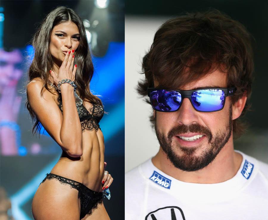 Fernando Alonso and his girlfriend, Victoria's Secret model Linda Morselli